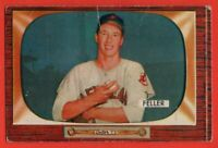 1955 Bowman #134 Bob Feller GOOD CREASE Hall of Fame Cleveland Indians FREE S/H