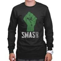 Smash Superhero Geek Fist Hero Man Comic Nerd Long Sleeve Tshirt Tee for Adults