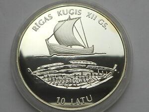 Latvia Latvijas 10 Lat 1997 Ship  Silver 31,32gr  Proof