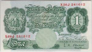 B273 L.K.O'BRIEN 1955 ONE POUND X24J BANKNOTE IN NEAR MINT CONDITION.