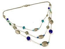 Vintage Silver Coloured Chain Light & Dark Blue Glass Bead Layered Necklace J115