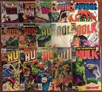 Lot of 15 Silver & Bronze age Marvel comics-Hulk Ironman Dr. Strange Defenders