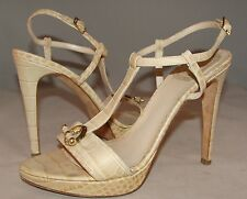 CHRISTIAN DIOR Nude Beige Color T-Strap Open Toe Heels Sandals Size 37 Italy