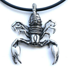 Scorpion Scorpio Zodiac Sign Astrology Arachnids Pewter Pendant W Black PVC Cord
