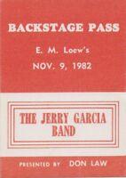 GRATEFUL DEAD BACKSTAGE PASS JERRY GARCIA BAND E.M. LOEWS  11-09-1982