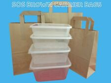 More details for kraft paper brown sos block bottom carriers with flat handles in 3 sizes s/m/l