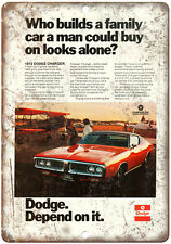 """1972 Dodge Charger Sports Car 10"""" x 7"""" Reproduction Metal Sign"""