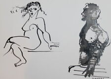1991 Expressionist Composition Nude Figures Woman Male Ink Painting Signed