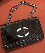 Amazing CHANEL Patent Leather Lipstick Flap Bag Shoulder Bag Chain Black