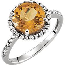 Natural Citrine Gem & 1/6 ct tw Genuine Diamonds Halo Design Ring 14K White Gold