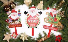 Set of 3 Christmas Decoration Cartoon Wooden Santa Stop Here Garden Sign XMAS