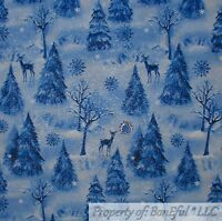 BonEful FABRIC FQ Cotton Quilt Blue Winter White Scenic Xmas Tree Snowflake Deer