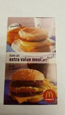 15 MCDONALD'S - EXTRA VALUE MEAL - GOLD SHINY FOIL SYMBOL - EXPIRES: 12-31-2018