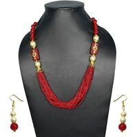 Women Strand Glass Beaded Necklace Earrings Set Party Jewelry Red color for girl