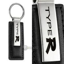 Honda Type R Logo Black Leather Chrome Key Fob Keyring Keychain Lanyard JDM