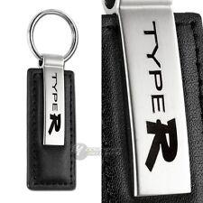 Honda Type R Logo Black Leather Chrome Key Fob Keyring Keychain Lanyard JDM