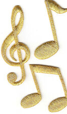 MUSIC NOTES, Gold Metallic Notes(Set of 3)-Iron On Embroidered Applique Patch