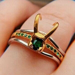 Loki Ring Helmet Shaped 3 Stackable Ring Unisex 925 Sterling Silver + Zircon Gem