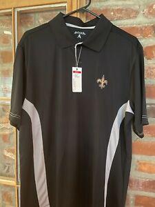 NWT Antigua Men's New Orleans Saints Black Polo Size Large