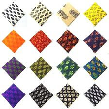 BLOCK PRINT Cotton Pocket Square Handkerchief Hanky Men Women Unisex Tribal 12""