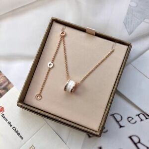 Bvlgari B.Zero 1 Pendant Necklace in 18K Rose Gold whtie