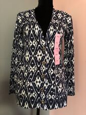 Grace Elements NWT Womens Small Blue White Print Long Sleeve Cardigan Sweater