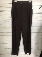 Lauren Ralph Lauren Women's Wool Blend Dress Pants-Dark Brown-Pleated-SZ 6-NWOT
