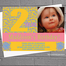 Kids Birthday Party Invites Childrens Girls 1st 2nd 3rd Photo x12 Floral H0300