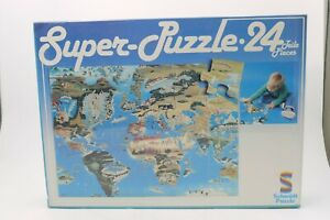 "VINTAGE 80'S SCHMIDT JIGSAW PUZZLE OUR WORLD MAP LARGE 24 PCS 25.5""x12"" MIB"