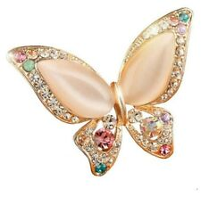 BROOCH Pink Butterfly Crystal Rhinestone Gold Alloy Brooch Mothers Day Gift