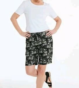 LADIES CAPSULE  PLUS SIZE 16 BLACK AND WHITE FLORAL LINEN BLEND