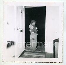 1950s snapshot photo Young Boy in Hobo Halloween costume    #2