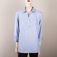 ANNE KLEIN Damen Bluse XL 42 Blau Chambray Gepunktet Oberteil Hemdbluse Casual