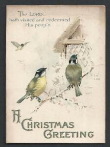 Y05 - VICTORIAN RELIGIOUS SCRIPTURE MOTTO CHRISTMAS CARD - BIRDS - MILDMAY