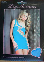 Super Tight Electric Blue Slashed Short Mini  Dress Cyber S M  LEG AVENUE