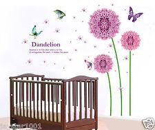 Xlarge violet dandelion mur autocollants re-repositionnable art decal pour élégante maison
