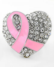 BREAST CANCER AWARENESS- SILVER PINK RIBBON HEART RING-