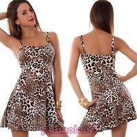 Miniabito donna abito vestito leopard animalier anni 50 pin up uovo CC-967