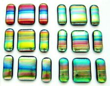 UNCAPPED 6 MATCHING PAIRS EARRINGS PENDANT CABS (BF8) FUSED DICHROIC GLASS