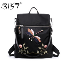 Flower Backpack Women Dragonfly Embroidery Bag For Girls Functional School Bags