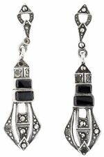 Vintage Deco Sterling-Silver Marcasite Black Onyx Earrings - Rare