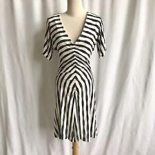 Trina Turk Ruched Black White Striped Chevron Knee Length Casual Dress Size 2