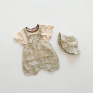 Baby cotton pure color short-sleeve shirt plaid overalls with hat 3 piece suit