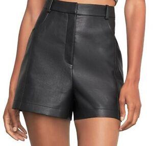 NWT $158 BCBG MAXAZRIA Faux Leather Shorts Black S