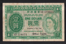1959 Government of Hong Kong one dollar paper money