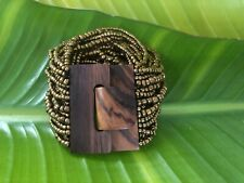 Stretchy GOLD BRONZE Multi Strand Beaded Bracelet Cuff Wooden Buckle Clasp NEW
