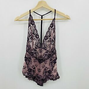 Free People Too Cute To Handle Lace Bodysuit Women's XS Purple Eggplant Combo
