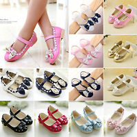 Fashion Kids Girls Toddler Flower Princess Bowknot Flats Sandals Slip On Shoes