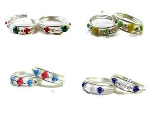 Indian Ethnic Women's Silver Plated  Multi-Color Pearls Adjustable Foot Toe Ring