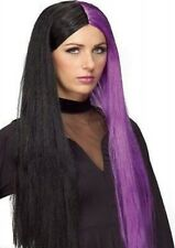 Black Purple Long Wig Witch Streaks Gothic Women's Halloween Costume Accessory
